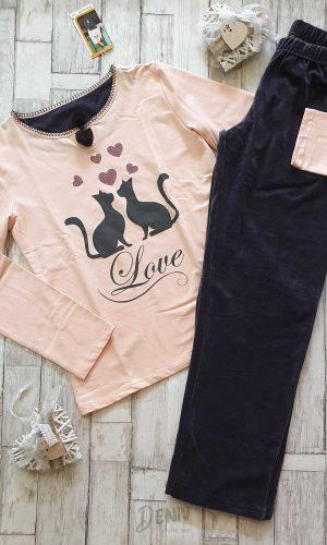 Дамска пижама с плюшено долнище Коте
