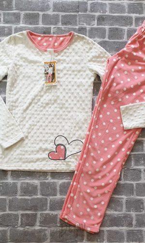 Дамска плюшена пижама на точки Sevim