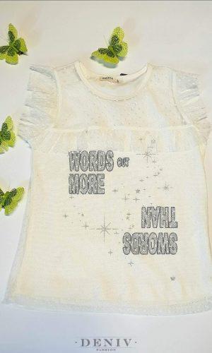 Детска бяла тениска с надписи