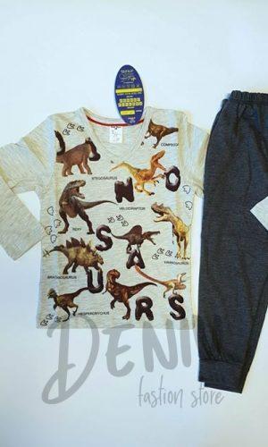 Детска сива пижама за момче с динозаври