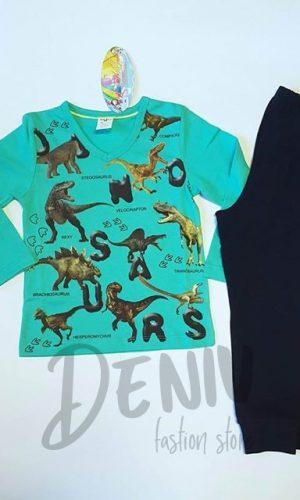 Детска пижама петрол за момче с динозаври