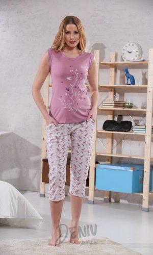 Дамска луксозна лятна пижама потник с 7/8 панталон