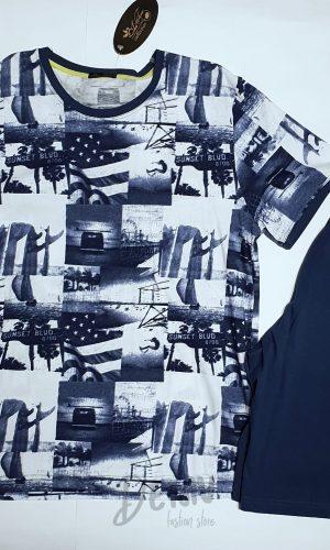 Мъжка лятна пижама Ива Текс с къси панталони