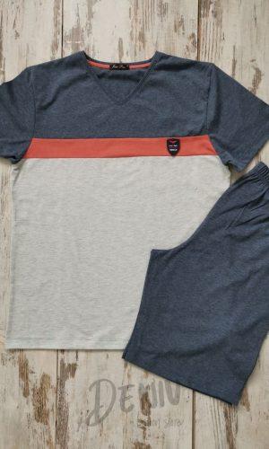 Мъжка лятна пижама Иватекс оранжева лента