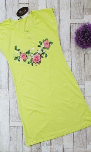 Дамска лятна нощница Иватекс с цветя и копчета