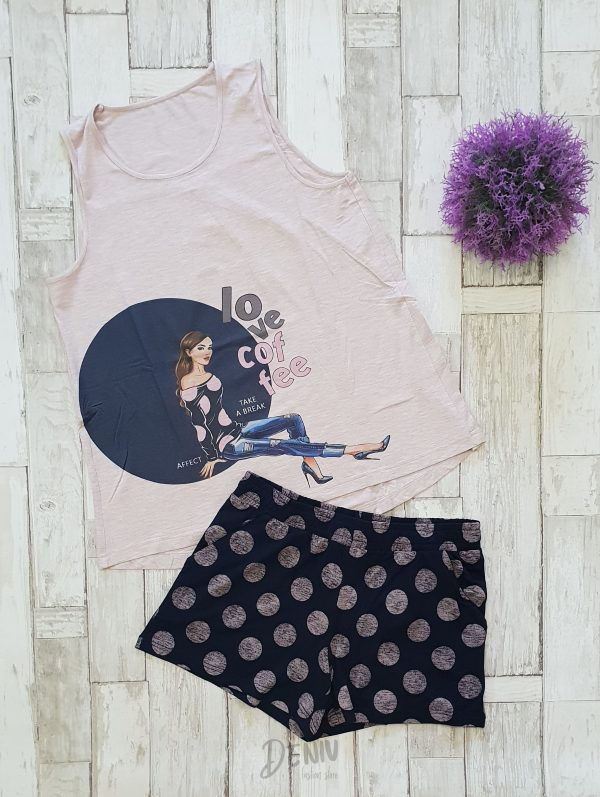 Дамска лятна пижама модал Афект Love Coffee
