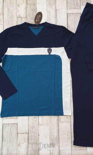 Мъжка зимна пижама Иватекс синя комбинация