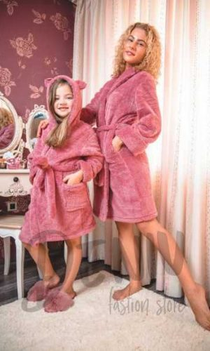 Домашен халат Desislava Велсофт цвят Марсала