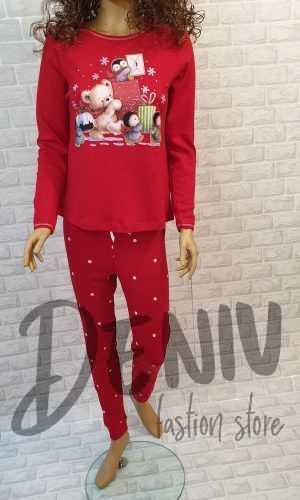 Дамска коледна пижама Иватекс мече с подарък