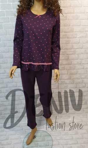 Дамска пижама Иватекс лилава с малки сърчица
