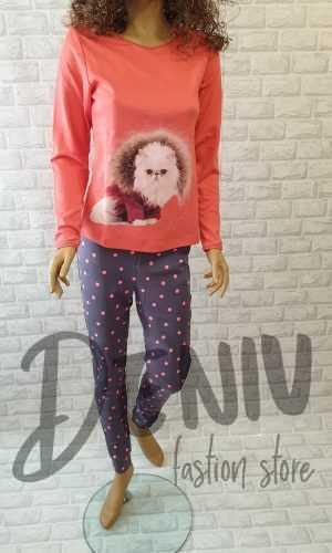 Дамска плътна пижама Иватекс коралово коте с пух
