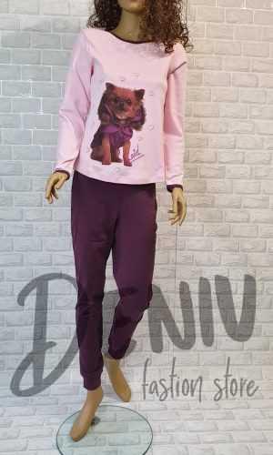 Дамска плътна пижама Иватекс куче в цвят лилав
