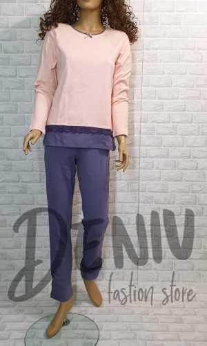 Дамска плътна пижама Иватекс праскова с дантела