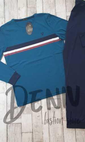 Мъжка тънка пижама Иватекс 9989 синя