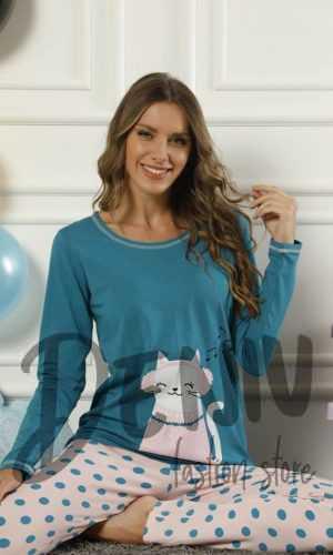 Дамска тънка пижама Cat петролен цвят