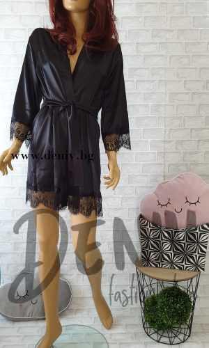 Луксозен секси домашен халат Десислава черен