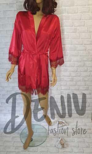 Луксозен сатенен домашен халат Десислава червен