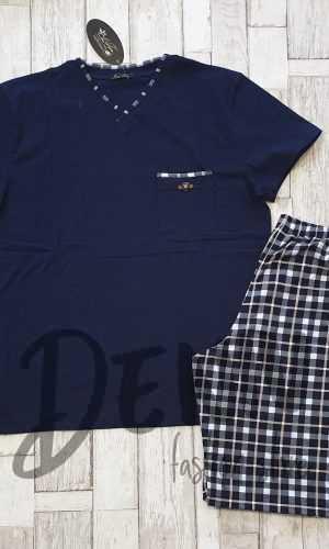 Мъжка пижама лятна Иватекс синьо каре