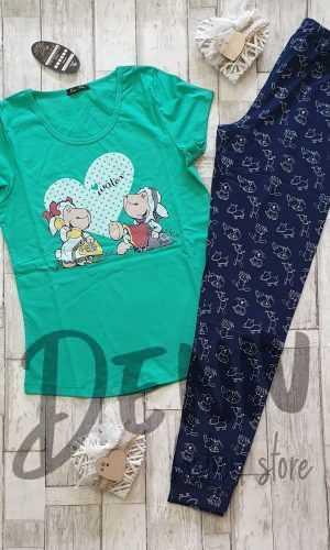 Дамска пижама с къс ръкав Иватекс Овце в зелено