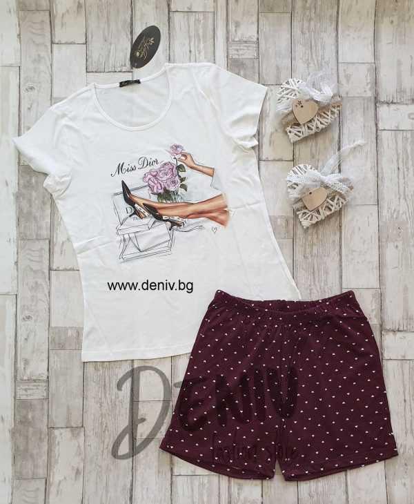 Дамска лятна пижама Иватекс Miss Dior бордо