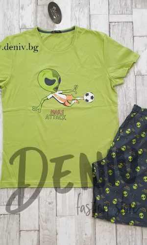 Мъжка пижама лятна Иватекс Mаrs зелена