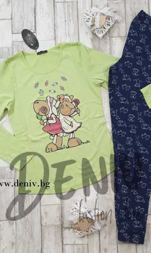 Дамска тънка пижама Иватекс Овце с бонбони зелен