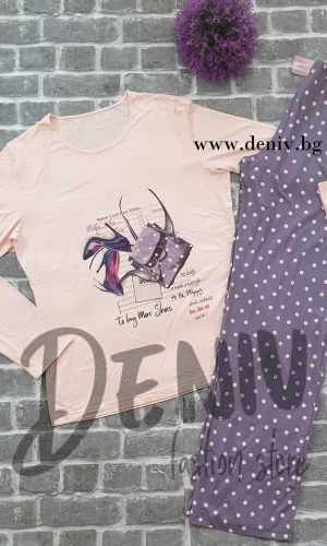 Дамска тънка пижама Афект Лилава обувчица