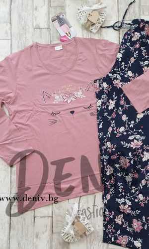 Дамска зимна пижама Vienetta Розови ушички МАКСИ